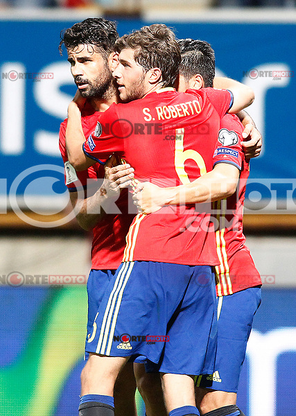 Spain's Diego Costa, Sergi Roberto and Nolito celebrate goal during FIFA World Cup 2018 Qualifying Round match. September 5,2016.(ALTERPHOTOS/Acero) /NORTEPHOTO