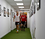 Billy Sharp of Sheffield Utd leads the team out for warm up during the Championship match at Bramall Lane, Sheffield. Picture date 26th August 2017. Picture credit should read: Simon Bellis/Sportimage