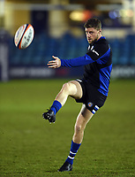 Rhys Priestland of Bath Rugby practises his kicking during the pre-match warm-up. Premiership Rugby Cup match, between Bath Rugby and Gloucester Rugby on February 3, 2019 at the Recreation Ground in Bath, England. Photo by: Patrick Khachfe / Onside Images