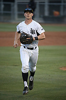 Daniel Jackson (35) of the Long Beach State Dirtbags in the field during a game against the TCU Horned Toads at Blair Field on March 14, 2017 in Long Beach, California. Long Beach defeated TCU, 7-0. (Larry Goren/Four Seam Images)