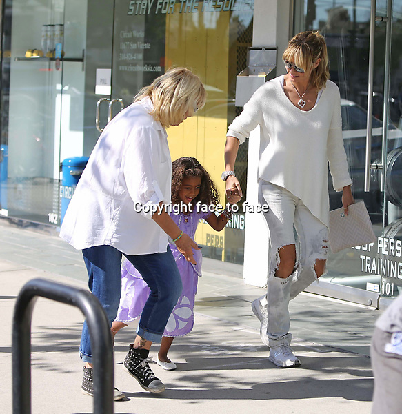 Model Heidi Klum and boyfriend Martin Kristen takes her kids Leni, Henry, Johan and Lou out shopping in Brentwood, California, 02.11.2013.<br />