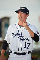 Lakeland Flying Tigers pitcher Trent Szkutnik (17) during introductions before a game against the Tampa Tarpons on April 5, 2018 at Publix Field at Joker Marchant Stadium in Lakeland, Florida.  Tampa defeated Lakeland 4-2.  (Mike Janes/Four Seam Images)