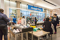 The Finish Line boutique in the shoe department in the Macy's Herald Square flagship store in New York on Monday, May 8, 2017. The big four department stores, Macy's JCPenney, Kohl's and Nordstrom, will be releasing first-quarter earnings this week. (© Richard B. Levine)