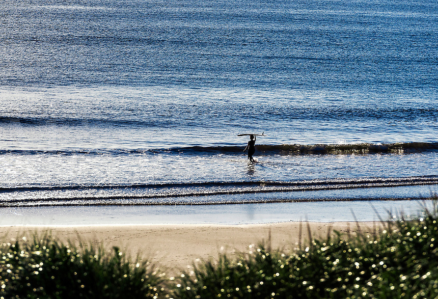Surfer heads out to catch a wave, Coast Guard Beach, Cape Cod, Massachusetts, USA