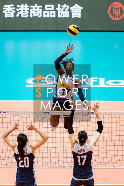 Miryam Fatime Sylla of Italy attacks during the FIVB Volleyball Nations League Hong Kong match between China and Italy on May 31, 2018 in Hong Kong, Hong Kong. Photo by Marcio Rodrigo Machado / Power Sport Images