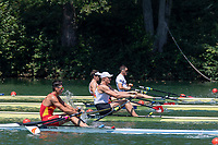 """Lucerne, SWITZERLAND, 12th July 2018, Friday, Leading, """"GER2 M1X"""", """"Oliver ZEIDLER"""" moves away at the Start  of his Heat in the Men's Single Sculls, at the FISA World Cup series, No.3, Lake Rotsee, Lucerne, © Peter SPURRIER,"""