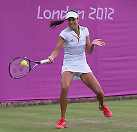 Ana Ivanovic..Tennis - OLympic Games -Olympic Tennis -  London 2012 -  Wimbledon - AELTC - The All England Club - London - Monday July 30th  2012. .© AMN Images, 30, Cleveland Street, London, W1T 4JD.Tel - +44 20 7907 6387.mfrey@advantagemedianet.com.www.amnimages.photoshelter.com.www.advantagemedianet.com.www.tennishead.net