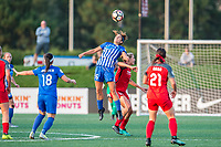 Boston, MA - Sunday September 10, 2017: Angela Salem and Allie Long during a regular season National Women's Soccer League (NWSL) match between the Boston Breakers and Portland Thorns FC at Jordan Field.
