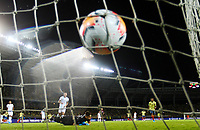 PEREIRA, COLOMBIA - JANUARY 18:  Colombia Socres a goal against Argentina during their CONMEBOL Pre-Olympic soccer game at the Hernan Ramirez Villegas Stadium on January 18, 2020 in Pereira, Colombia. (Photo by Daniel Munoz/VIEW press/Getty Images)