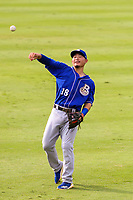Biloxi Shuckers second baseman Keston Hiura (18) warms up in the outfield prior to a Southern League game against the Jackson Generals on July 26, 2018 at The Ballpark at Jackson in Jackson, Tennessee. Jackson defeated Biloxi 9-5. (Brad Krause/Four Seam Images)