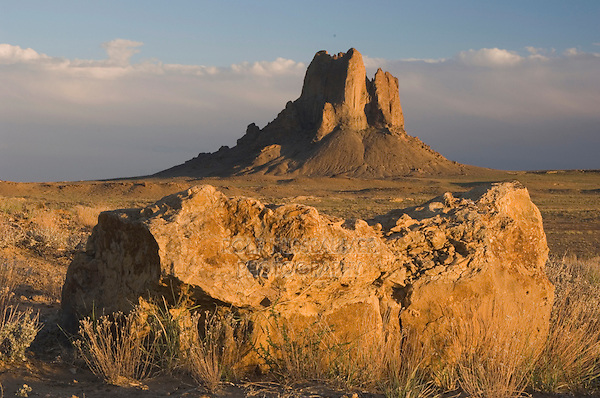 Rockformation ar sunset, Shiprock, Navajo Indian Reserve, New Mexico, USA