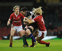 Paula Fitzpatrick of Barbarians is tackled by Kerin Lake of Wales<br /> <br /> Photographer Ian Cook/CameraSport<br /> <br /> 2019 Autumn Internationals - Wales Women v Barbarians Women - Saturday 30th November 2019 - Principality Stadium - Cardifff<br /> <br /> World Copyright © 2019 CameraSport. All rights reserved. 43 Linden Ave. Countesthorpe. Leicester. England. LE8 5PG - Tel: +44 (0) 116 277 4147 - admin@camerasport.com - www.camerasport.com