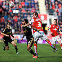 Rotherham United v Nottingham Forest, 16.4.2016<br /> Sky Bet Championship<br /> Picture Shaun Flannery/Trevor Smith Photography<br /> Forest's Ryan Mendes holds off Rotherham's Joe Mattock.