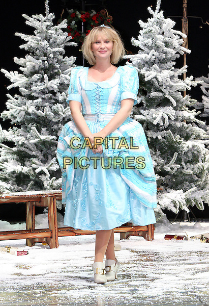 JOANNA PAGE.First Family Entertainment 2011 Pantomimes Photocall at the Piccadilly Theatre, London, November 26th 2010..panto costume full length blue cinderella dress .CAP/JIL.©Jill Mayhew/Capital Pictures