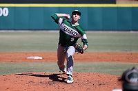 CARY, NC - FEBRUARY 23: Nick Zuppe #9 of Wagner College throws a pitch during a game between Wagner and Penn State at Coleman Field at USA Baseball National Training Complex on February 23, 2020 in Cary, North Carolina.