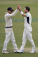 High Fives as Harris makes the breakthrough for Middlesex during Middlesex CCC vs Lancashire CCC, Specsavers County Championship Division 2 Cricket at Lord's Cricket Ground on 12th April 2019
