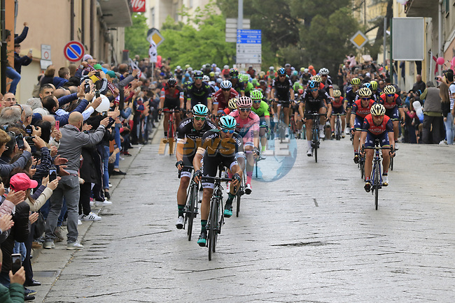 The peloton pass through Nuoro during Stage 2 of the 100th edition of the Giro d'Italia 2017, running 221km from Olbia to Tortoli, Sardinia, Italy. 6th May 2017.<br /> Picture: Eoin Clarke   Cyclefile<br /> <br /> <br /> All photos usage must carry mandatory copyright credit (&copy; Cyclefile   Eoin Clarke)
