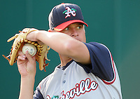 April 24, 2008: RHP Andrew Groves (19) of the Asheville Tourists, Class A affiliate of the Colorado Rockies, prior to a game against the Greenville Drive at Fluor Field at the West End in Greenville, S.C. Photo by:  Tom Priddy/Four Seam Images