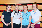Killarney girls Leah Kelly, Jessica Galvin, Elaina Galvin and Rebecca Murphy who played in the County knockout badminton tournament in Killarney Sports Centre on Sunday