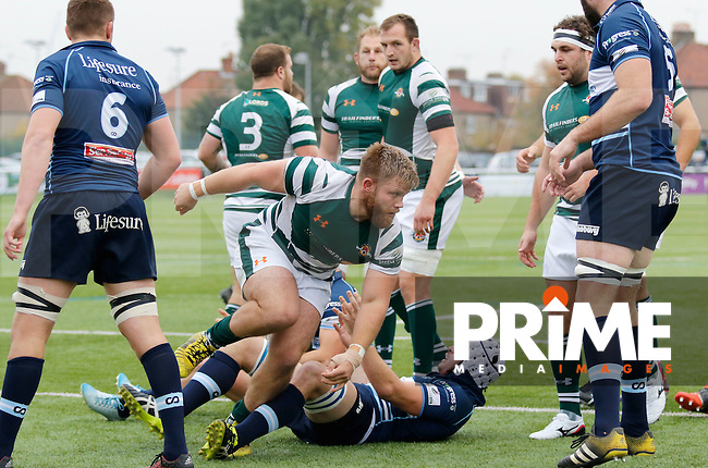 Ealing's Rhys Lawrence wheels away after scoring during the Greene King IPA Championship match between Ealing Trailfinders and Bedford Blues at Castle Bar , West Ealing , England  on 29 October 2016. Photo by Carlton Myrie / PRiME Media