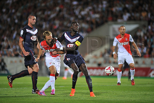 17.08.2014. Bordeaux, France. French League 1 football. Bordeaux versus Monaco.  VALERE GERMAIN, NICOLAS PALLOIS and LAMINE SANE