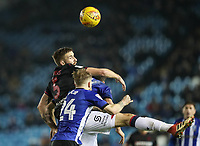 Bolton Wanderers' Mark Beevers competing with Sheffield Wednesday's Ashley Baker <br /> <br /> Photographer Andrew Kearns/CameraSport<br /> <br /> The EFL Sky Bet Championship - Sheffield Wednesday v Bolton Wanderers - Tuesday 27th November 2018 - Hillsborough - Sheffield<br /> <br /> World Copyright &copy; 2018 CameraSport. All rights reserved. 43 Linden Ave. Countesthorpe. Leicester. England. LE8 5PG - Tel: +44 (0) 116 277 4147 - admin@camerasport.com - www.camerasport.com