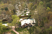 aerial shot of suspected fighting pit bull breeder's backyard operation;.near Hillsboro, NC: March 28, 2007