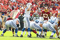 Landover, MD - September 16, 2018: Indianapolis Colts quarterback Andrew Luck (12) changes the play during the  game between Indianapolis Colts and Washington Redskins at FedEx Field in Landover, MD.   (Photo by Elliott Brown/Media Images International)