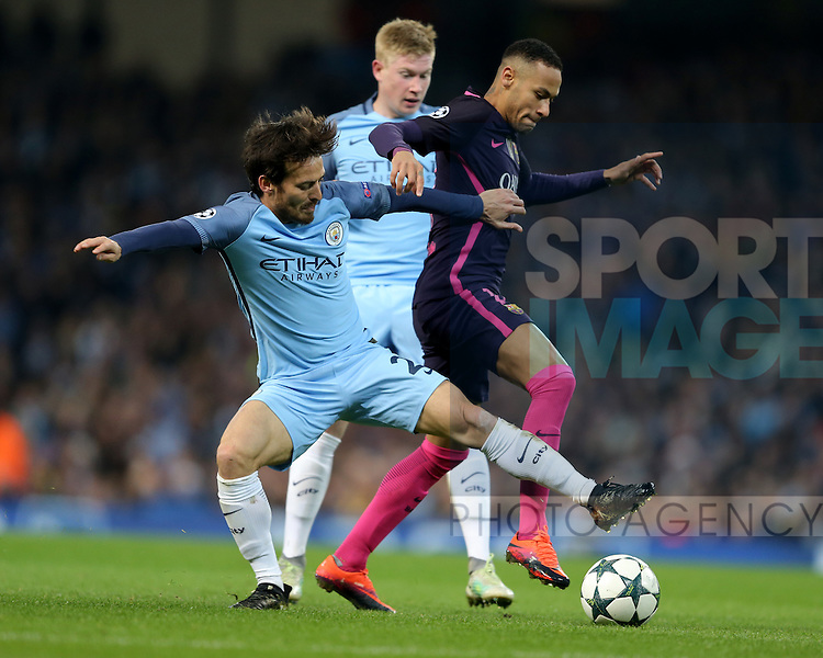 David Silva of Manchester City tackles Neymar of Barcelona during the Champions League Group C match at the Etihad Stadium, Manchester. Picture date: November 1st, 2016. Pic Simon Bellis/Sportimage