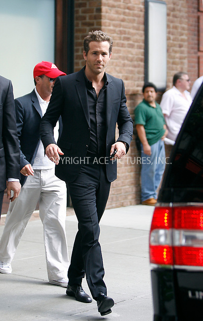 WWW.ACEPIXS.COM . . . . .  ....August 4 2011, New York City....Actor Ryan Reynolds leaves a downtown hotel on August 4 2011 in New York City....Please byline: CURTIS MEANS - ACE PICTURES.... *** ***..Ace Pictures, Inc:  ..Philip Vaughan (212) 243-8787 or (646) 679 0430..e-mail: info@acepixs.com..web: http://www.acepixs.com