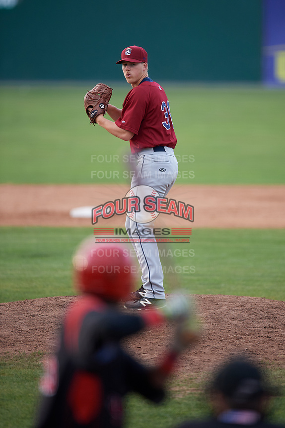 Mahoning Valley Scrappers relief pitcher Jonathan Teaney (30) gets ready to deliver a pitch during the first game of a doubleheader against the Batavia Muckdogs on August 28, 2017 at Dwyer Stadium in Batavia, New York.  Mahoning Valley defeated Batavia 6-3.  (Mike Janes/Four Seam Images)