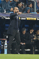 10.12.2011 La Liga BBVA, Spain. Santiago Bernaveu stadium.Real Madrid vs FC Barcelona. Picture show Jose Mourinho and Pep Guardiola