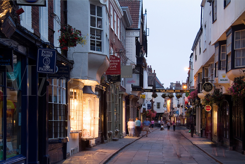 Small shops on Stonegate Street, York, England