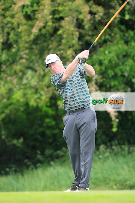 Paul Reilly (Co. Louth) on the 12th tee during Round 2 of the Irish Mid-Amateur Open Championship at New Forest on Saturday 20th June 2015.<br /> Picture:  Thos Caffrey / www.golffile.ie