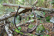 Artifact along the Gordon Pond Railroad along an abandoned sled road high on the side of Mount Blue in Kinsman Notch of the White Mountains, New Hampshire USA. This was a logging railroad in operation from 1907-1916 (+/-). The removal of historic artifacts from federal lands without a permit is a violation of federal law.