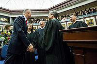 TALLAHASSEE, FLA. 3/7/17-Gov. Rick Scott, left, talks with Florida Supreme Court Justices Barbara Pariente, Charles Canady, Chief Justice Jorge Labarga and Justice C. Alan Lawson, right, as he enters the House Chamber during opening day of the legislative session at the Capitol in Tallahassee.<br /> <br /> COLIN HACKLEY PHOTO