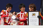(L to R) Yukari Kinga, Yonetsu Miwa, Nahomi Kawasumi (Leonessa), JANUARY 1, 2012 - Football / Soccer : The 33th All Japan Women's Football Championship final match between INAC Kobe Leonessa 3-0 Albirex Ladies at National Stadium in Tokyo, Japan. (Photo by Akihiro Sugimoto/AFLO SPORT) [1080]