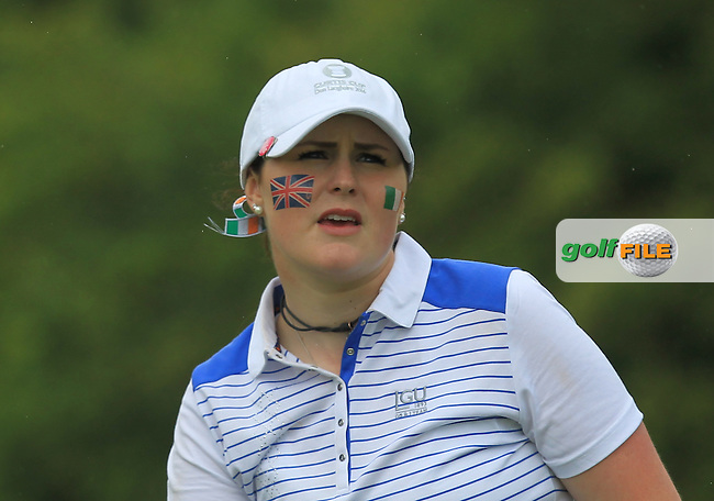 Olivia Mehaffey on the 8th tee during the Friday afternoon Fourballs of the 2016 Curtis Cup at Dun Laoghaire Golf Club on Friday 10th June 2016.<br /> Picture:  Golffile | Thos Caffrey