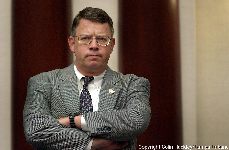 TALLAHASSEE, FL. 4/28/04-House Democratic Leader Doug Wiles, St. Augustine, listens to debate Wednesday at the Capitol in Tallahassee. Unable to block the GOP agenda, Democrats are filing amendments to a variety of bills as a way of protesting the Republican agenda and hoping the mild sarcasm persuades some of their colleagues to reconsider. COLIN HACKLEY PHOTO