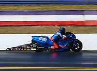 Mar 18, 2017; Gainesville , FL, USA; NHRA pro stock motorcycle rider Scott Pollacheck during qualifying for the Gatornationals at Gainesville Raceway. Mandatory Credit: Mark J. Rebilas-USA TODAY Sports