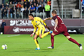 September 8th 2017, Stade Saint-Symphorien, Metz, France; French League 1 football, Metz versus Paris St Germain;  NEYMAR JR (psg) turns away from the challenge from Roux (metz)