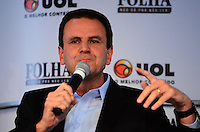 RIO DE JANEIRO, RJ, 31 AGOSTO 2012-ELEICOES 2012-EDUARDO PAES- O candidato a Prefeitura do Rio de Janeiro, Eduardo Paes da coligacao Somos um Rio, na sabatina da Folha/UOL, no Teatro doa Quatro, nesta sexta feira, 31 de agosto, no Shopping da Gavea, na Gavea, zona sul do Rio de Janeiro.(FOTO:MARCELO FONSECA/BRAZIL PHOTO PRESS).