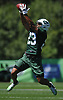 Dexter McDougle #23 of the New York Jets works on interception drills during the second day of team training camp held at Atlantic Health Jets Training Center in Florham Park, NJ on Sunday, July 30, 2017.