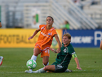 Sky Blue FC midfielder/forward Kacey White (20) and Saint Louis Athletica midfielder Lori Chalupny (17) during a WPS match at Anheuser Busch Soccer Park, in St. Louis, MO, July 22 2009. Athletica won the match 1-0.