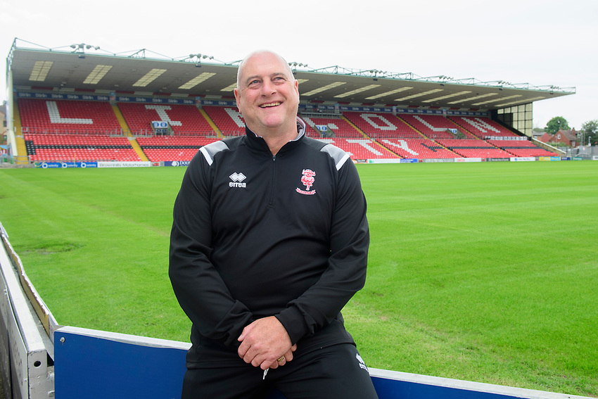 Lincoln City Women's manager Richard Cooper during at a press conference<br /> <br /> Photographer Chris Vaughan/CameraSport<br /> <br /> Lincoln City Women - Press conference - Tuesday 18th June 2019 - Sincil Bank - Lincoln<br /> <br /> World Copyright © 2019 CameraSport. All rights reserved. 43 Linden Ave. Countesthorpe. Leicester. England. LE8 5PG - Tel: +44 (0) 116 277 4147 - admin@camerasport.com - www.camerasport.com