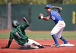 Basic's Christian Rivero turns a double play against Palo Verde's Scott Crosby during the NIAA 4A baseball championship game in Reno, Nev., on Saturday, May 19, 2018. Palo Verde won 4-2. Cathleen Allison/Las Vegas Review-Journal