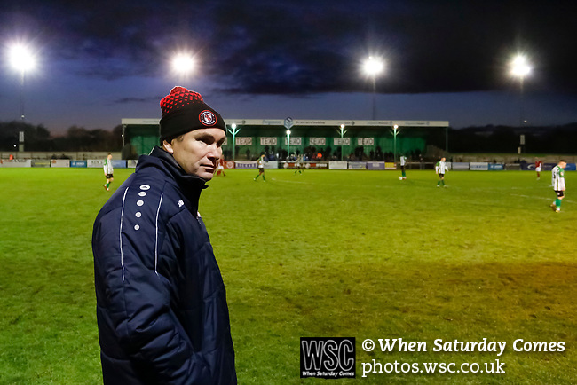 Kevin Wilkin manager of Brackley Town. Blyth Spartans v Brackley Town, 30112019. Croft Park, National League North. Photo by Paul Thompson.