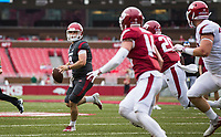 Hawgs Illustrated/BEN GOFF <br /> John Stephen Jones, Arkansas quarterback, looks for a receiver in the first quarter Saturday, April 6, 2019, during the Arkansas Red-White game at Reynolds Razorback Stadium.