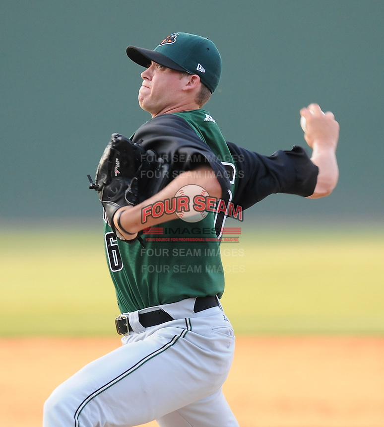 Pitcher Jacob Dunnington (16) of the Augusta GreenJackets, Class A affiliate of the San Francisco Giants, in a game against the Greenville Drive on April 10, 2011, at Fluor Field at the West End in Greenville, S.C. Photo by Tom Priddy / Four Seam Images