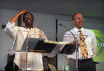 Rev. G. Modele Clarke, and Rabbi Jonathan Kligler, who delivered tributes to each other as the special honorees at Kingston's 2nd Juneteenth Celebration, sponsored by the Kingston Chapter of ENJAN (End the New Jim Crow Action Network) and New Progressive Baptist Church, and held at the church in Kingston on Saturday, June 14, 2014. Photo by Jim Peppler. Copyright Jim Peppler 2014 all rights reserved.